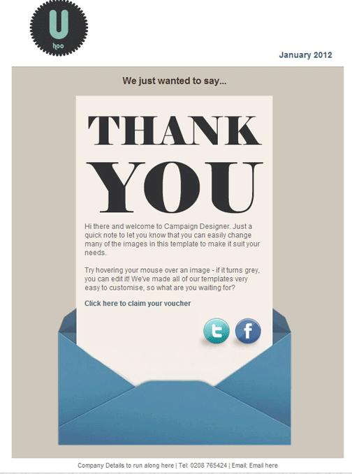 Ejemplo de los emails de agradecimiento.