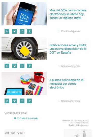 Ejemplo de newsletters automáticas, por Mittum