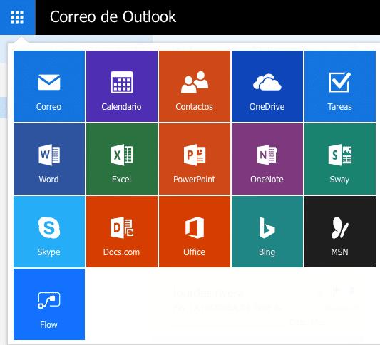 Así se despliegan diversas funciones de Microsoft desde el menú de acceso de Outlook 2017